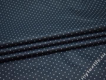 Курточная синяя ткань в серый горох полиэстер ДЁ3103
