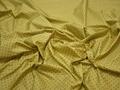 Курточная салатовая ткань в черный горох полиэстер ДЁ3101