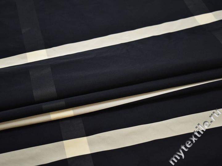 Курточная синяя серая ткань полоска полиэстер ДЁ341