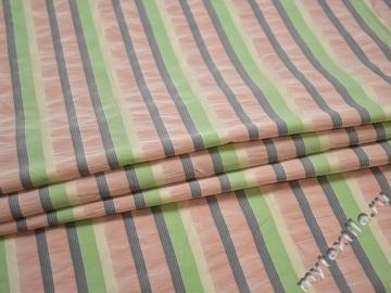 Курточная зеленая ткань полоска полиэстер ДЁ338