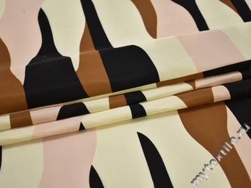 Курточная коричневая черная ткань геометрия полиэстер ДЁ324