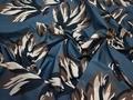 Курточная синяя коричневая ткань цветы полиэстер ДЁ320