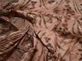 Курточная коричневая терракотовая ткань гео цветы полиэстер ДЁ318