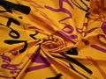 Курточная желтая малиновая ткань надписи полиэстер ДЁ317