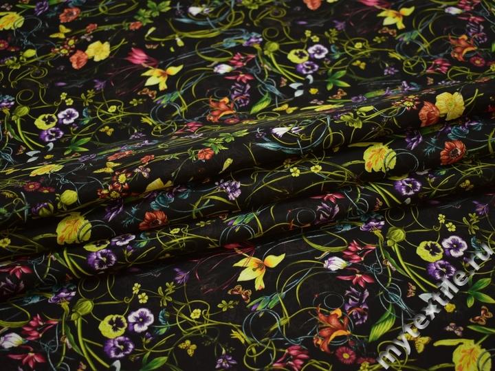 Курточная черная зеленая ткань цветы листья полиэстер ДЁ39