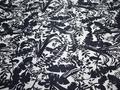 Курточная темно-синяя ткань цветы листья полиэстер ДЁ38