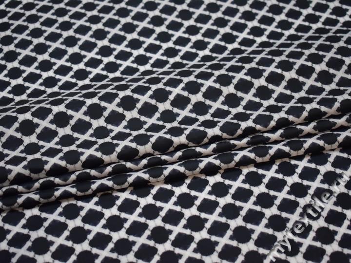Курточная темно-синяя серая ткань геометрия полиэстер ДЁ37