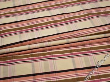 Курточная бежевая розовая ткань полоска полиэстер ДЁ33
