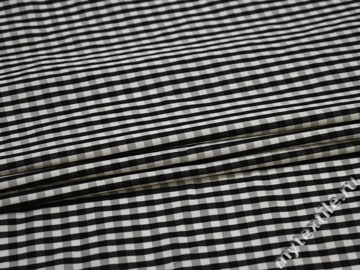 Курточная черная белая ткань клетка полоска полиэстер ДЁ32