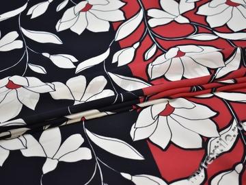 Плательная синяя красная ткань цветы  полиэстер ЕБ552