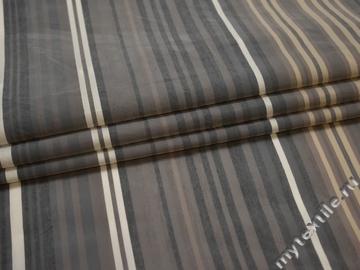 Плательная бежевая серая ткань полоска вискоза полиэстер ЕБ521