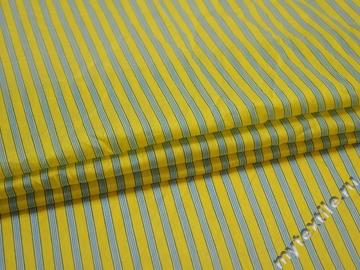 Плательная желтая голубая ткань полоска шелк вискоза ЕБ493