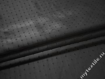 Подкладочная-жаккард черная ткань цветы вискоза ацетат ГА2212
