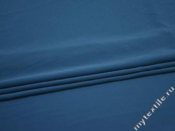 Плательный креп синий полиэстер эластан БЕ617