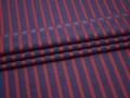 Батист синий красный полоска хлопок ЕВ246