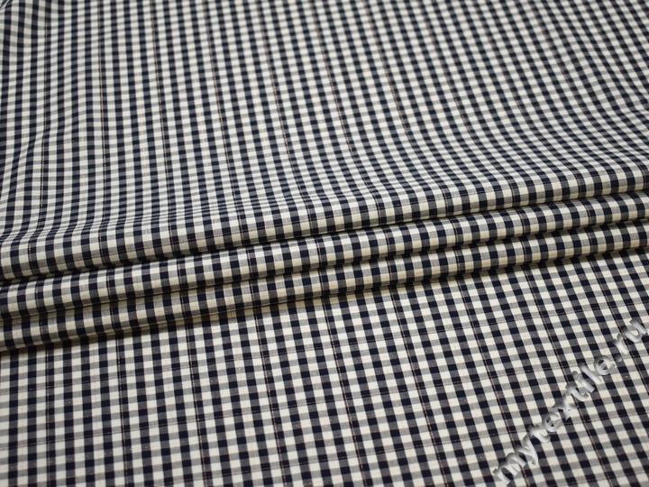 Рубашечная белая синяя ткань клетка хлопок ЕВ227