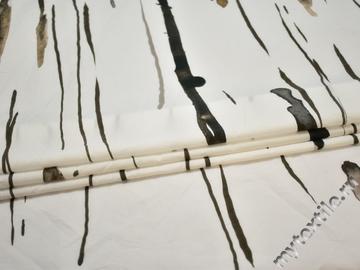 Плательная белая бежевая ткань абстракция хлопок ЕВ225