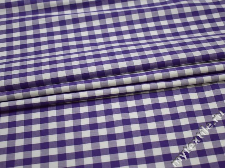 Рубашечная фиолетовая белая ткань клетка хлопок ЕВ218