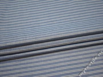 Рубашечная синяя серая ткань полоска хлопок ЕВ217