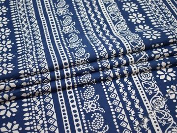 Плательная синяя белая ткань орнамент хлопок ЕВ212