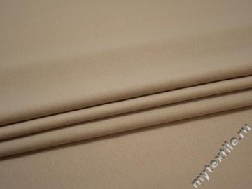 Костюмная бежевая ткань шелк полиэстер ГД184