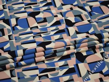 Плательный креп синий черный геометрия полиэстер ЕБ467