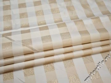 Плательная бежевая белая ткань люрекс полиэстер ЕБ51