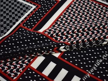 Плательная черная красная ткань геометрия полиэстер ЕБ488
