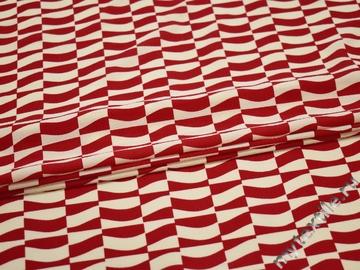 Плательная молочная красная ткань геометрия полиэстер ЕБ477