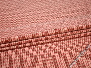 Жаккард красный молочный геометрия хлопок эластан ЕВ457