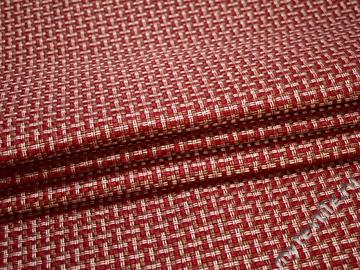 Обивочная рогожка красная белая полиэстер ЕВ59