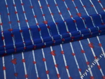 Сетка-стрейч синяя полоски сердечки полиэстер БД64