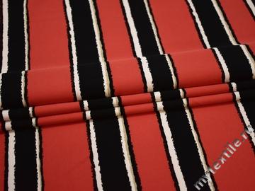 Плательная коралловая черная ткань полоска вискоза полиэстер БГ425