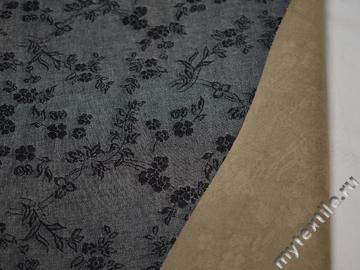 Джинс серый цветы хлопок с эластаном ВА262