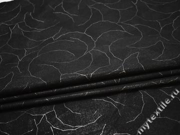 Джинс черный с серебряным принтом хлопок эластан ЕА164
