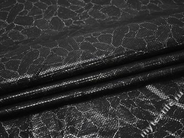 Джинс черный с серебряным принтом хлопок эластан ЕА166