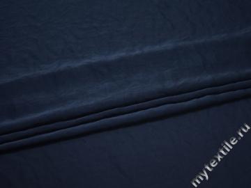 Плательная синяя ткань полиэстер БД757