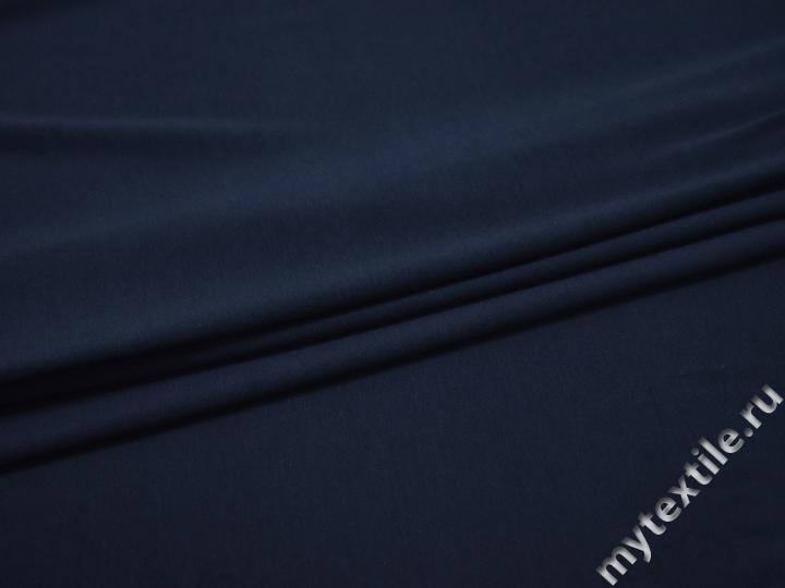 Трикотаж синий хлопок полиэстер АК553