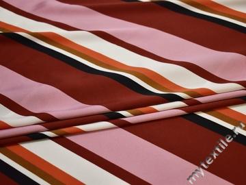 Шёлк-атлас бордовый розовый полоска полиэстер ЕВ355