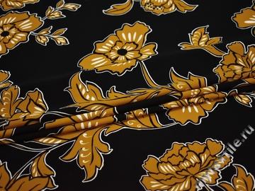 Плательная горчичная черная ткань цветы полиэстер ЕВ326