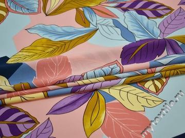 Плательная персиковая голубая ткань листья полиэстер ЕВ37