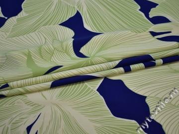 Плательная синяя ткань цветы листья полиэстер ЕВ36