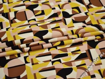 Плательная желтая коричневая ткань геометрия полиэстер ЕВ35