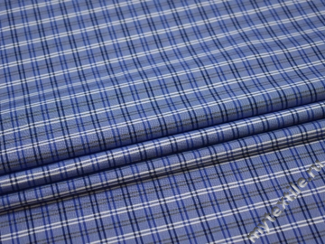 Рубашечная синяя белая ткань полоска хлопок ЕВ525