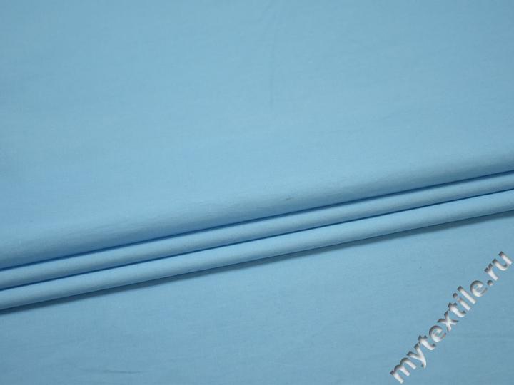 Плащевая голубая ткань хлопок полиэстер БЕ1142