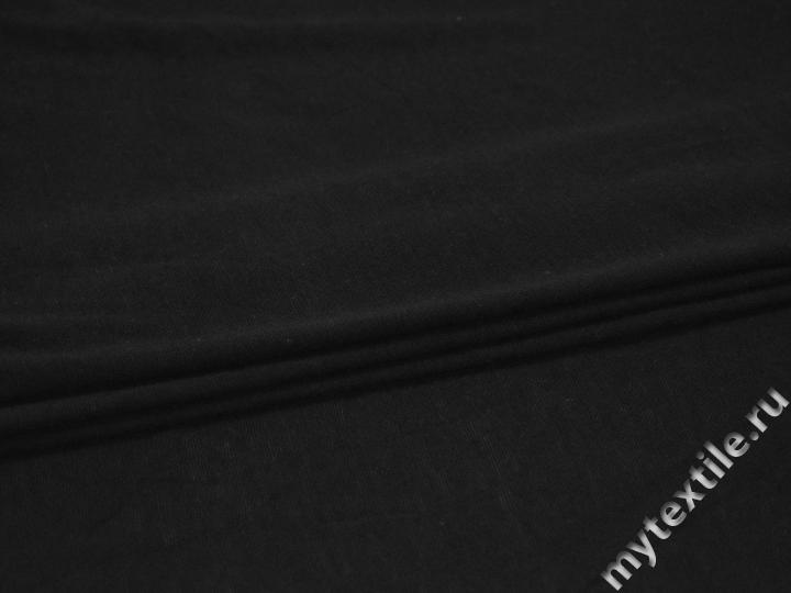 Трикотаж черный шелк хлопок АВ363