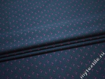 Рубашечная синяя сиреневая ткань принт хлопок ЕА2100
