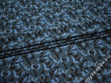 Рубашечная синяя черная ткань принт хлопок ЕВ530