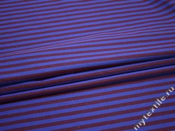 Хлопок синий бордовый в полоску ЕА2106
