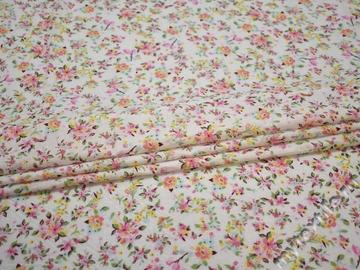 Батист с розовыми зелеными цветами хлопок ББ332